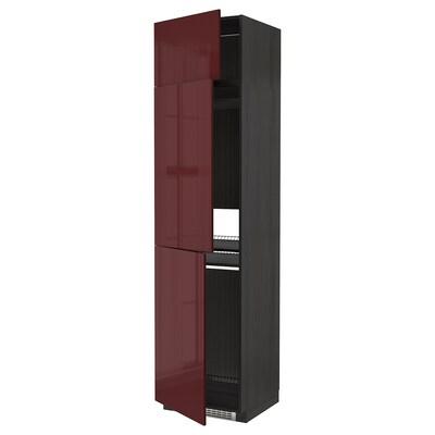 METOD Armário alto p/frigo/conge c/3porta, preto Kallarp/brilh vermelho acastanhado escuro, 60x60x240 cm