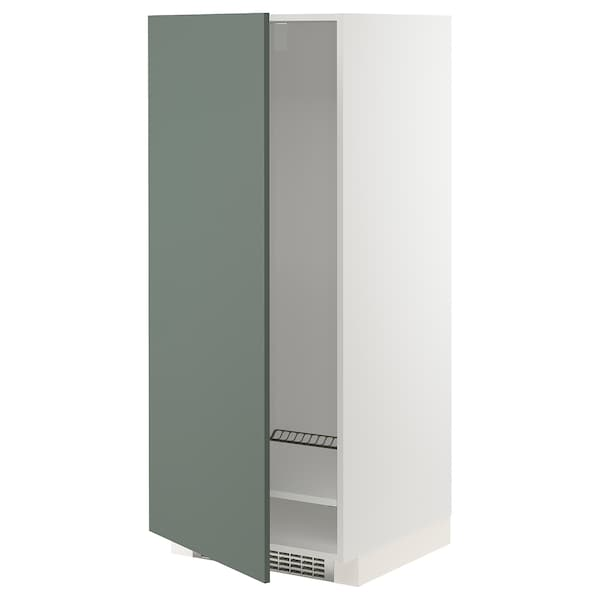 METOD Armário alto p/frigoríf/congelador, branco/Bodarp verde acinzentado, 60x60x140 cm