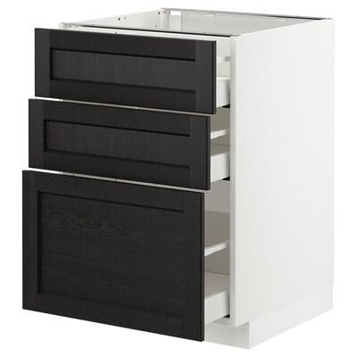 METOD Armário baixo c/3gavetas, branco/Lerhyttan velatura preta, 60x60 cm