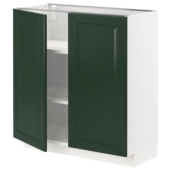 METOD Armário baixo c/prateleiras/2portas, branco/Bodbyn verde escuro, 80x37 cm