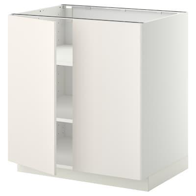 METOD Armário baixo c/prateleiras/2portas, branco/Veddinge branco, 80x60 cm