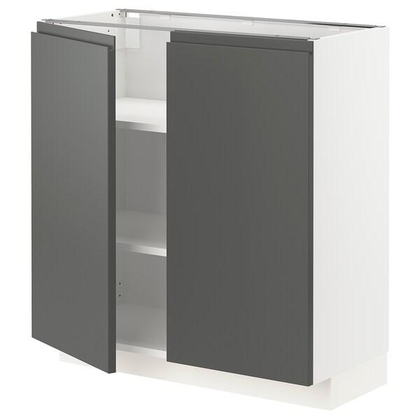 METOD Armário baixo c/prateleiras/2portas, branco/Voxtorp cinz esc, 80x37 cm