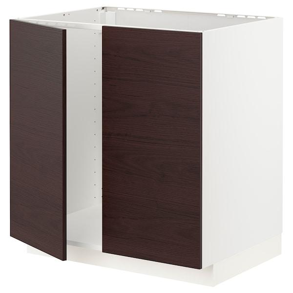 METOD Armário baixo p/lava-loiça+2portas, branco Askersund/castanho escuro efeito freixo, 80x60 cm