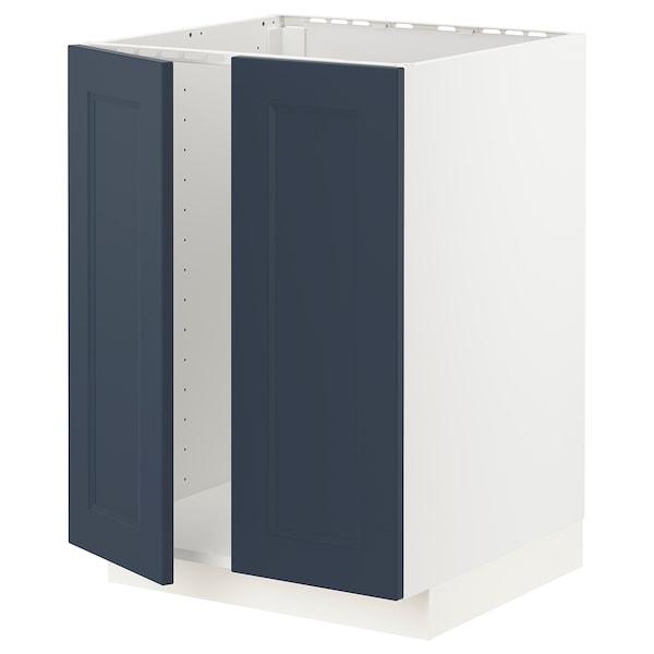 METOD Armário baixo p/lava-loiça+2portas, branco Axstad/mate azul, 60x60 cm