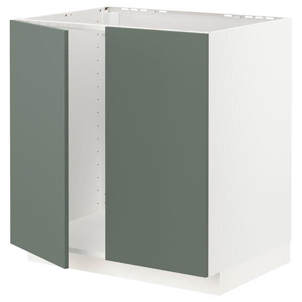 METOD Armário baixo p/lava-loiça+2portas, branco/Bodarp verde acinzentado, 80x60 cm