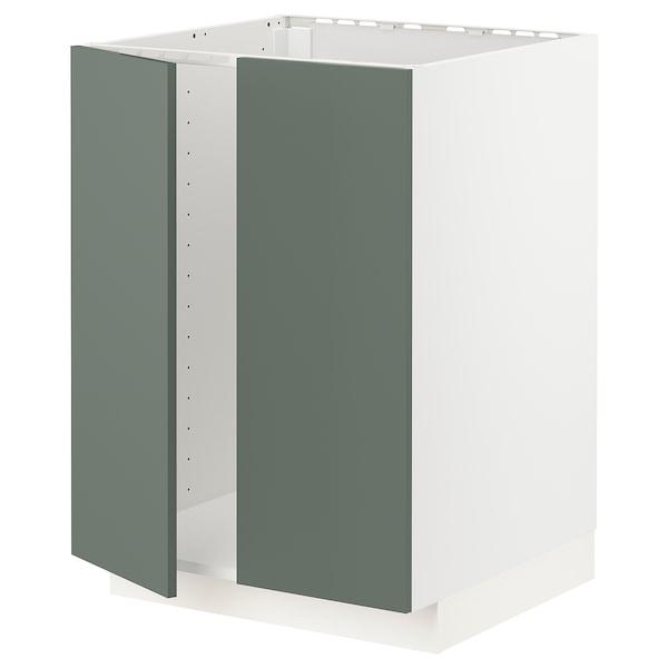 METOD Armário baixo p/lava-loiça+2portas, branco/Bodarp verde acinzentado, 60x60 cm