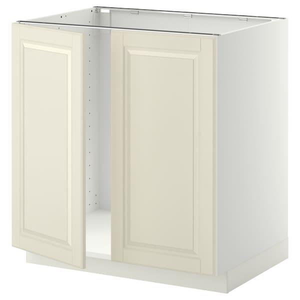 METOD Armário baixo p/lava-loiça+2portas, branco/Bodbyn branco-bege, 80x60 cm