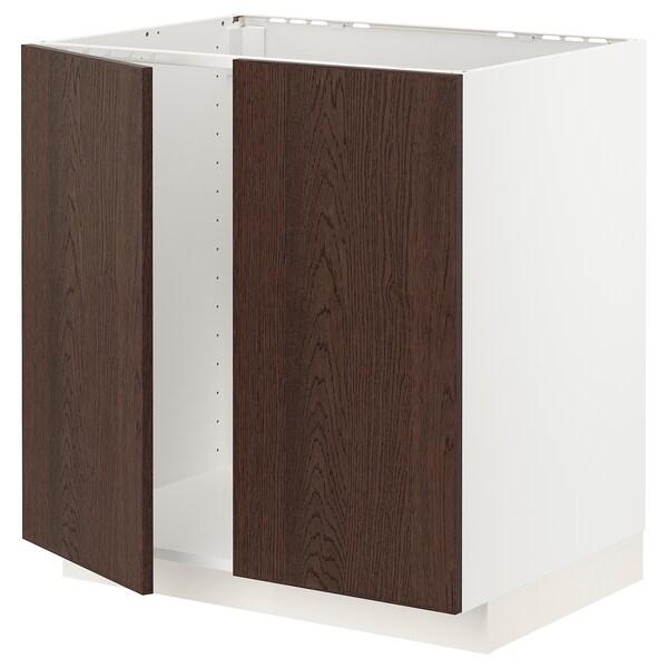 METOD Armário baixo p/lava-loiça+2portas, branco/Sinarp castanho, 80x60 cm