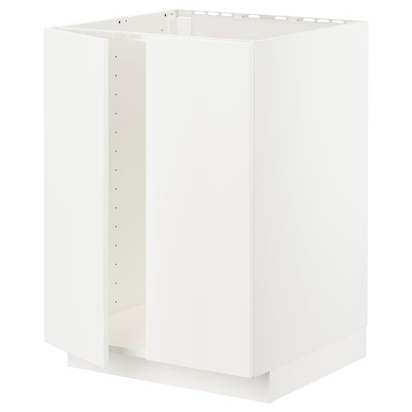 METOD Armário baixo p/lava-loiça+2portas, branco/Veddinge branco, 60x60 cm