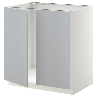 METOD Armário baixo p/lava-loiça+2portas, branco/Veddinge cinz, 80x60 cm
