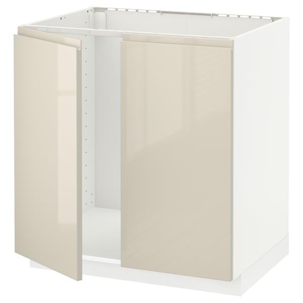 METOD Armário baixo p/lava-loiça+2portas, branco/Voxtorp bege claro brilhante, 80x60 cm