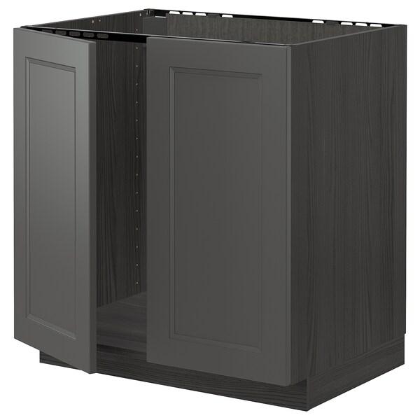 METOD Armário baixo p/lava-loiça+2portas, preto/Axstad cinz esc, 80x60 cm