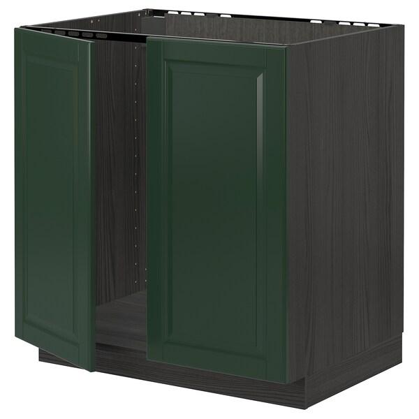 METOD Armário baixo p/lava-loiça+2portas, preto/Bodbyn verde escuro, 80x60 cm