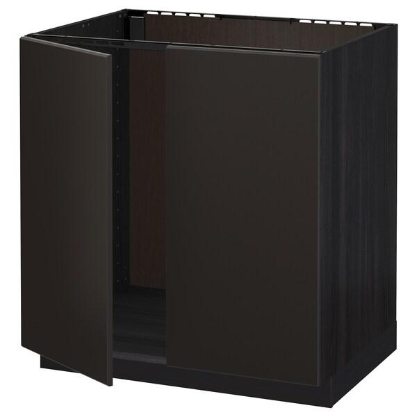 METOD Armário baixo p/lava-loiça+2portas, preto/Kungsbacka antracite, 80x60 cm