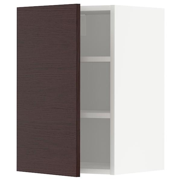 METOD Armário de parede c/prateleira, branco Askersund/castanho escuro efeito freixo, 40x60 cm