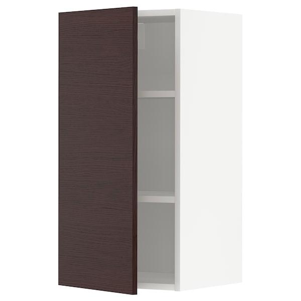 METOD Armário de parede c/prateleira, branco Askersund/castanho escuro efeito freixo, 40x80 cm