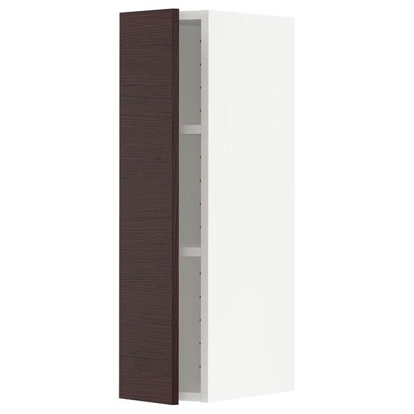 METOD Armário de parede c/prateleira, branco Askersund/castanho escuro efeito freixo, 20x80 cm