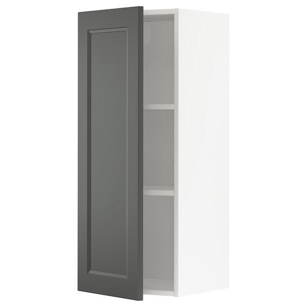 METOD Armário de parede c/prateleira, branco/Axstad cinz esc, 40x100 cm