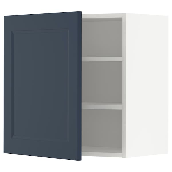 METOD Armário de parede c/prateleira, branco Axstad/mate azul, 60x60 cm