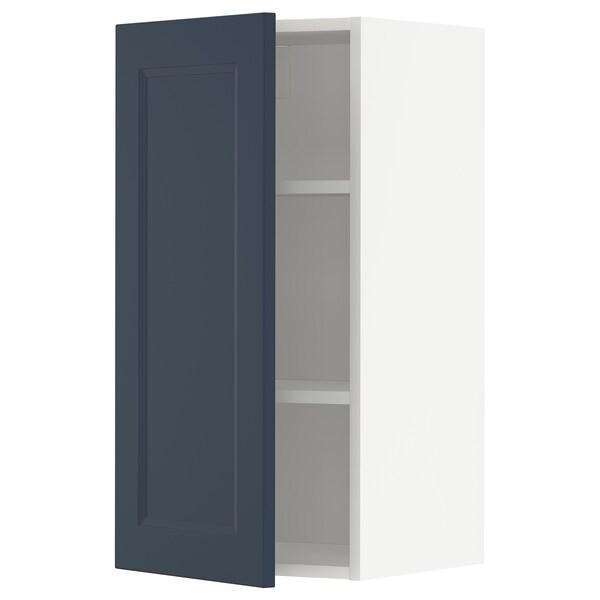 METOD Armário de parede c/prateleira, branco Axstad/mate azul, 40x80 cm