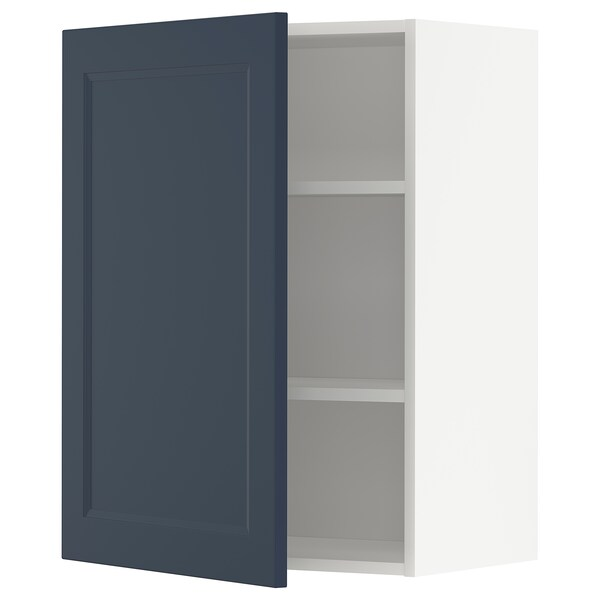 METOD Armário de parede c/prateleira, branco Axstad/mate azul, 60x80 cm