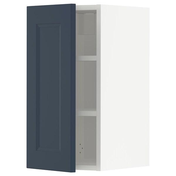 METOD Armário de parede c/prateleira, branco Axstad/mate azul, 30x60 cm