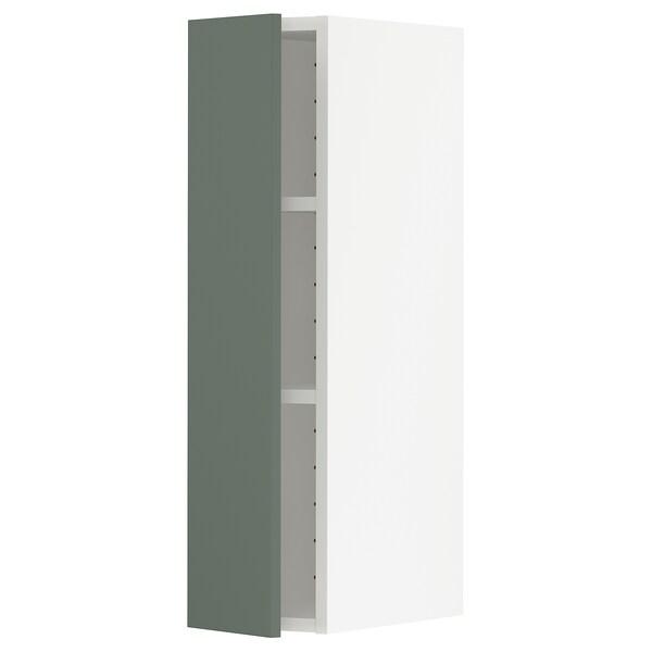 METOD Armário de parede c/prateleira, branco/Bodarp verde acinzentado, 20x80 cm