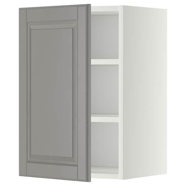 METOD Armário de parede c/prateleira, branco/Bodbyn cinz, 40x60 cm