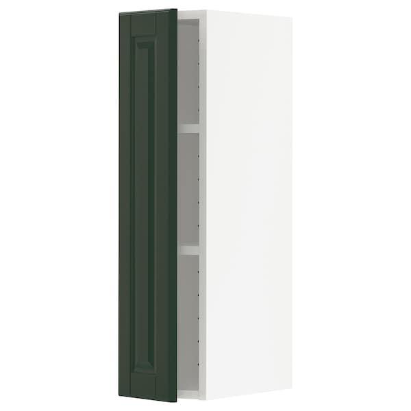 METOD Armário de parede c/prateleira, branco/Bodbyn verde escuro, 20x80 cm