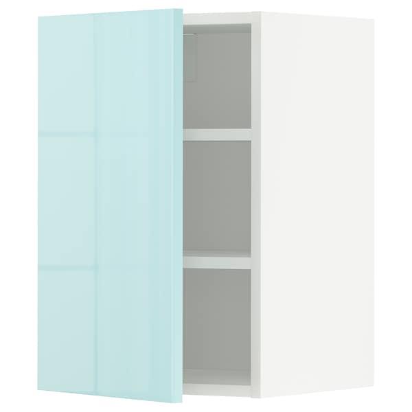 METOD Armário de parede c/prateleira, branco Järsta/brilh turquesa claro, 40x60 cm