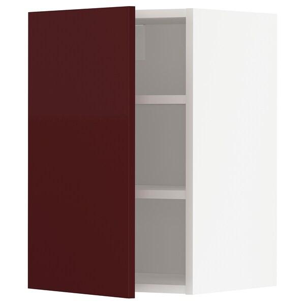 METOD Armário de parede c/prateleira, branco Kallarp/brilh vermelho acastanhado escuro, 40x60 cm