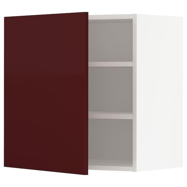 METOD Armário de parede c/prateleira, branco Kallarp/brilh vermelho acastanhado escuro, 60x60 cm