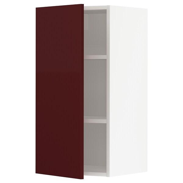 METOD Armário de parede c/prateleira, branco Kallarp/brilh vermelho acastanhado escuro, 40x80 cm