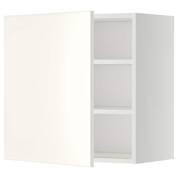 METOD Armário de parede c/prateleira, branco/Veddinge branco, 60x60 cm