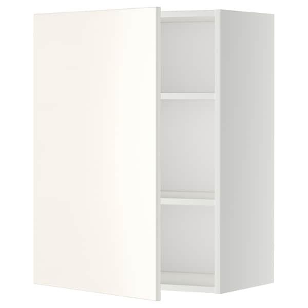 METOD Armário de parede c/prateleira, branco/Veddinge branco, 60x80 cm