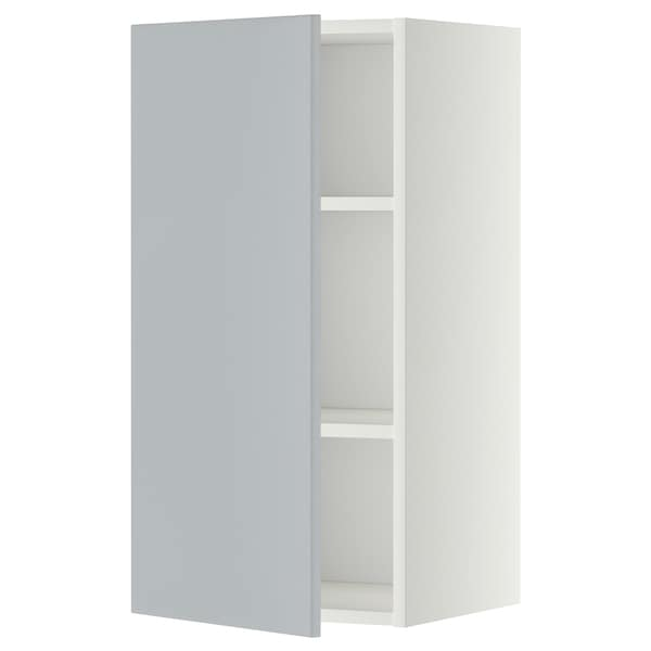 METOD Armário de parede c/prateleira, branco/Veddinge cinz, 40x80 cm