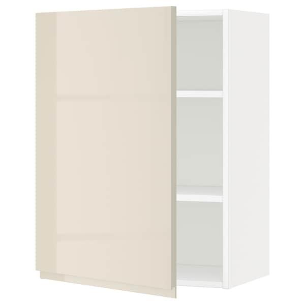 METOD Armário de parede c/prateleira, branco/Voxtorp bege claro brilhante, 60x80 cm