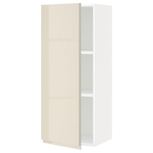METOD Armário de parede c/prateleira, branco/Voxtorp bege claro brilhante, 40x100 cm
