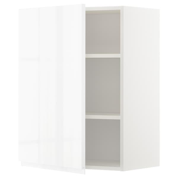 METOD Armário de parede c/prateleira, branco/Voxtorp branco/brilh, 60x80 cm