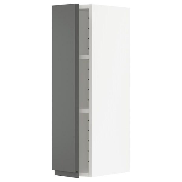 METOD Armário de parede c/prateleira, branco/Voxtorp cinz esc, 20x80 cm
