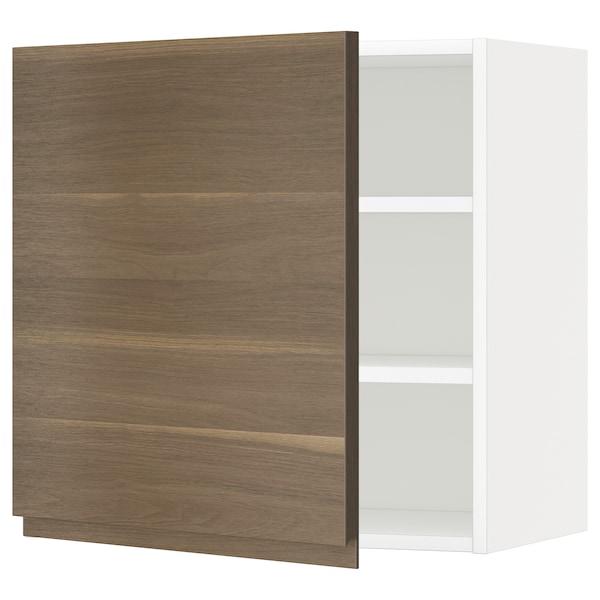 METOD Armário de parede c/prateleira, branco/Voxtorp efeito nogueira, 60x60 cm