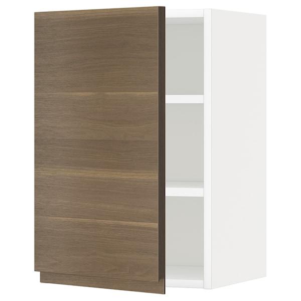 METOD Armário de parede c/prateleira, branco/Voxtorp efeito nogueira, 40x60 cm