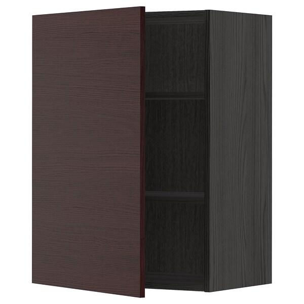 METOD Armário de parede c/prateleira, preto Askersund/castanho escuro efeito freixo, 60x80 cm