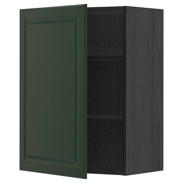 METOD Armário de parede c/prateleira, preto/Bodbyn verde escuro, 60x80 cm