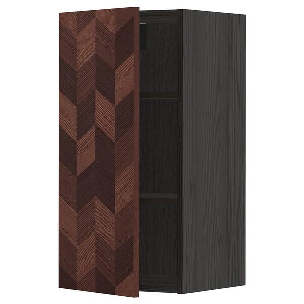 METOD Armário de parede c/prateleira, preto Hasslarp/castanho c/padrão, 40x80 cm