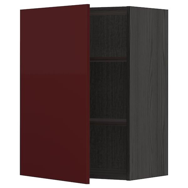 METOD Armário de parede c/prateleira, preto Kallarp/brilh vermelho acastanhado escuro, 60x80 cm