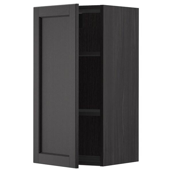METOD Armário de parede c/prateleira, preto/Lerhyttan velatura preta, 40x80 cm
