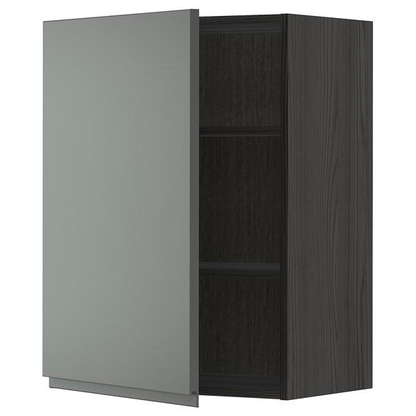 METOD Armário de parede c/prateleira, preto/Voxtorp cinz esc, 60x80 cm