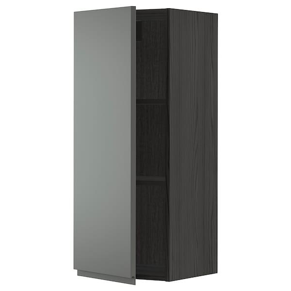 METOD Armário de parede c/prateleira, preto/Voxtorp cinz esc, 40x100 cm