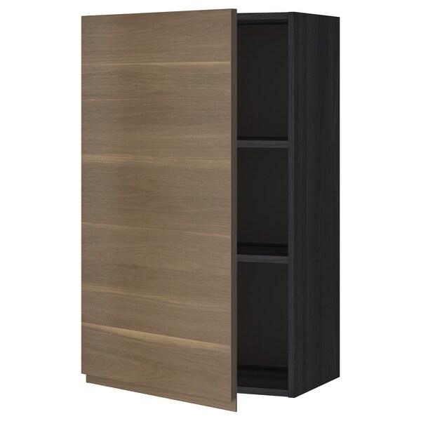METOD Armário de parede c/prateleira, preto/Voxtorp efeito nogueira, 60x100 cm